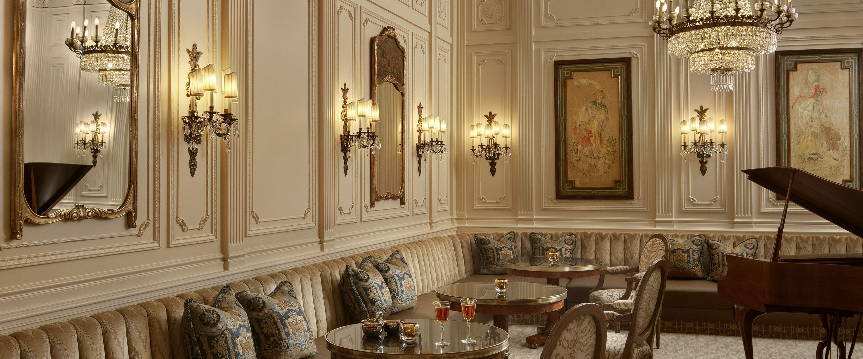 Plaza Bar, elegant room with piano and tables.