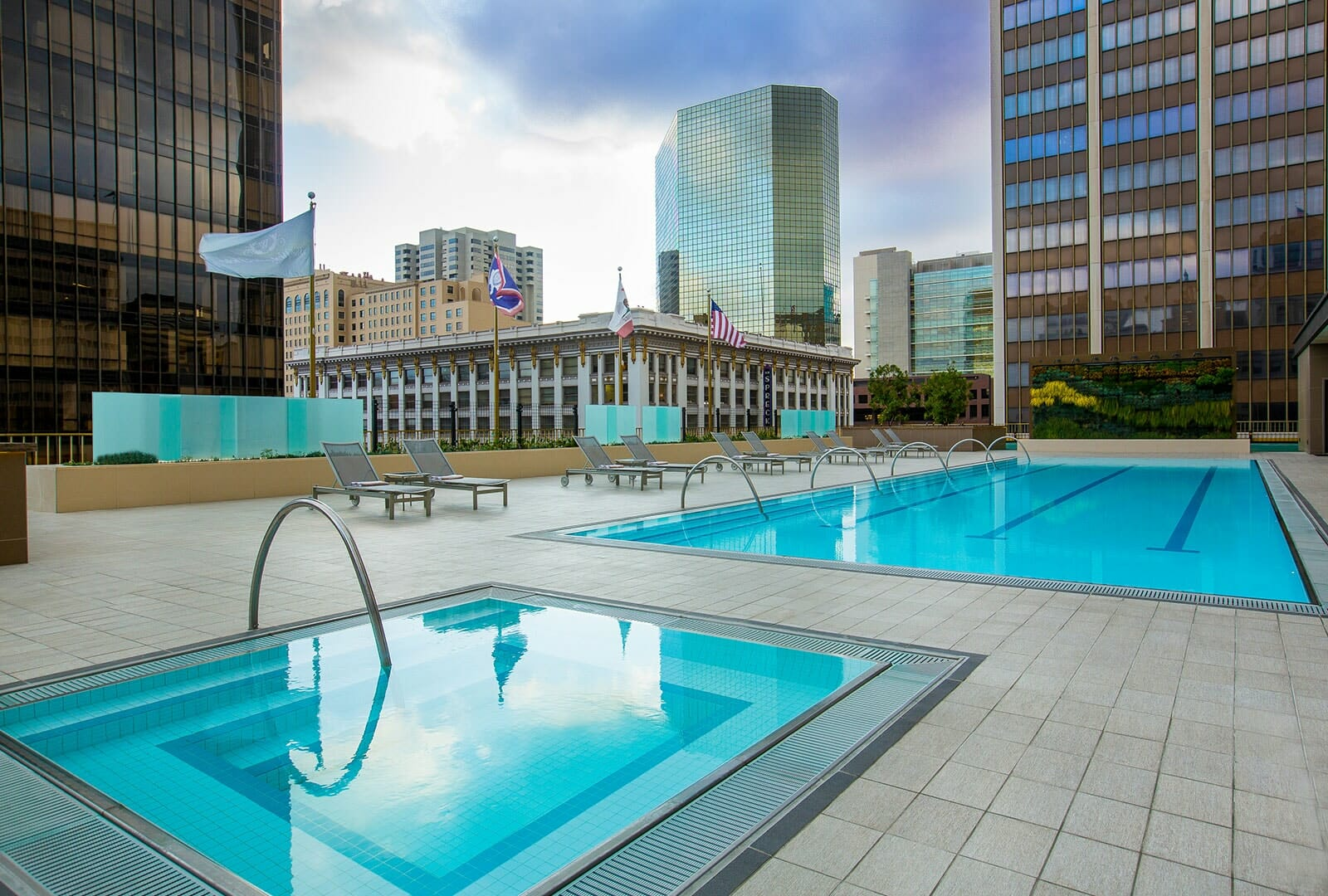Westgate Hotel rooftop pool and hot tub with lounge chairs