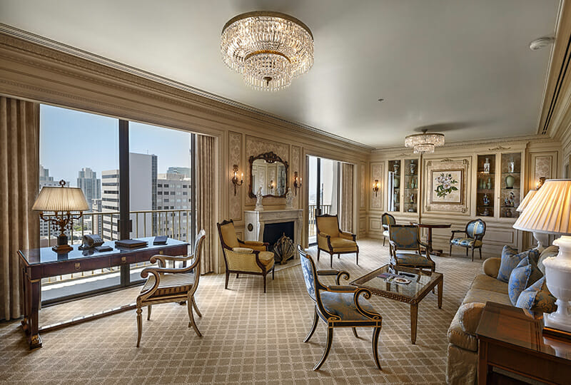 Westgate Hotel Presidential Suite with antiques and downtown views