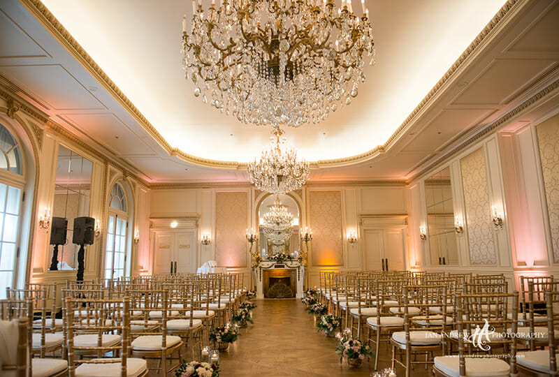 The Westgate Hotel Versailles ballroom staged for wedding ceremony